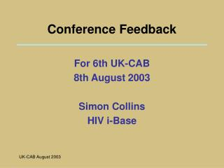 Conference Feedback