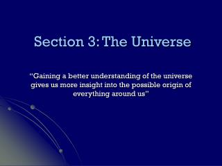 Section 3: The Universe