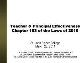 Teacher & Principal Effectiveness Chapter 103 of the Laws of 2010