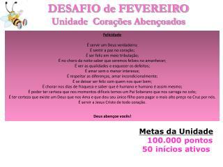 DESAFIO de FEVEREIRO Unidade   Corações Abençoados