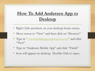 How To Add Andersen App to Desktop