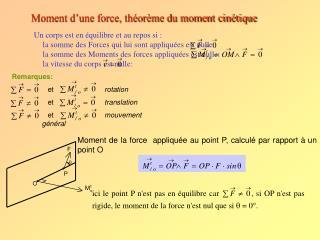 Moment d'une force, théorème du moment cinétique