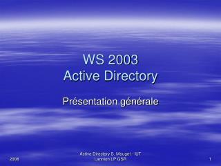 WS 2003  Active Directory