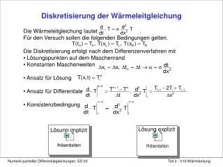 Diskretisierung der W rmeleitgleichung