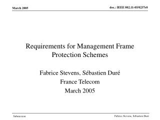 Requirements for Management Frame Protection Schemes