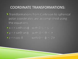 Coordinate  TransformationS :