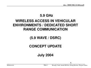 5.9 WAVE / DSRC CONCEPT
