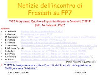 Notizie dell'incontro di Frascati su  FP7