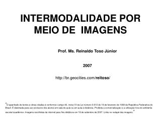 INTERMODALIDADE POR MEIO DE  IMAGENS