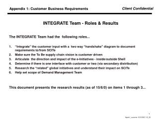 INTEGRATE Team - Roles & Results