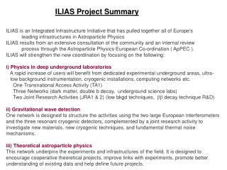 ILIAS Project Summary