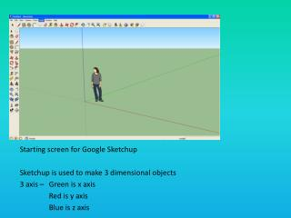 Starting screen for Google  Sketchup Sketchup  is used to make 3 dimensional objects