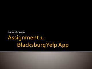 Assignment 1: BlacksburgYelp  App