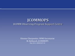 JCOMMOPS JCOMM Observing Program Support Centre
