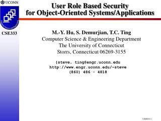 User Role Based Security for Object-Oriented Systems/Applications