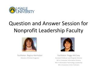 Question and Answer Session for Nonprofit Leadership Faculty
