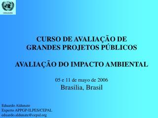 CURSO DE AVALIAÇÃO DE GRANDES PROJETOS PÚBLICOS AVALIAÇÃO DO IMPACTO AMBIENTAL