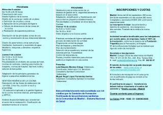 PROGRAMA Miércoles 8 octubre  De 16,00 a 20,00 horas Presentación del curso