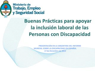 Buenas Pr�cticas para apoyar la inclusi�n laboral de las Personas con Discapacidad