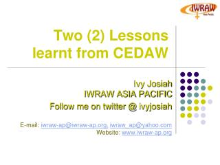 Two (2) Lessons learnt from CEDAW