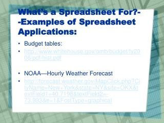 What's a Spreadsheet For?--Examples of Spreadsheet Applications: