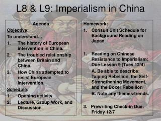 L8 & L9: Imperialism in China