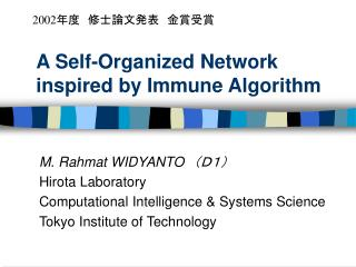 A Self-Organized Network inspired by Immune Algorithm