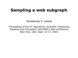 Sampling a web subgraph
