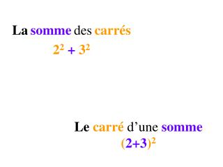 Le  carré  d'une  somme ( 2+3 ) 2