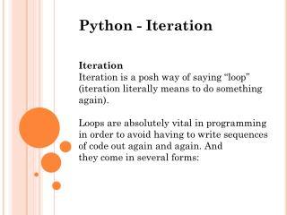 Python - Iteration Iteration