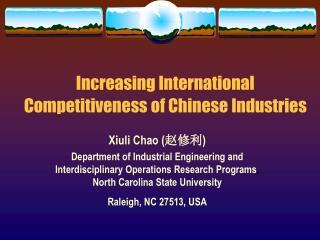 Increasing International Competitiveness of Chinese Industries