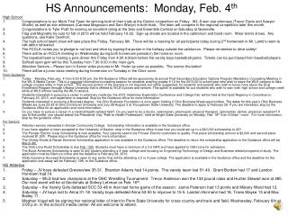 HS Announcements:  Monday, Feb. 4 th