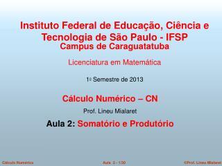 Cálculo Numérico – CN  Prof. Lineu Mialaret  Aula 2:  Somatório e Produtório