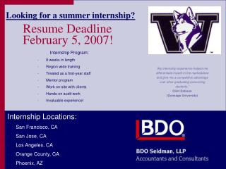 Resume Deadline  February 5, 2007!