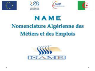 N A M E Nomenclature Algérienne des Métiers et des Emplois