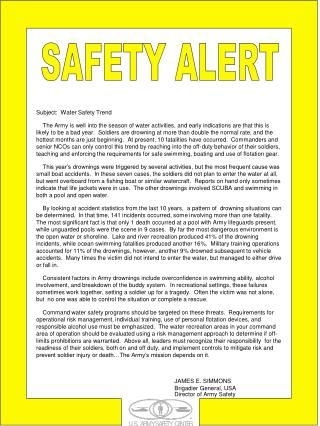 Subject:  Water Safety Trend