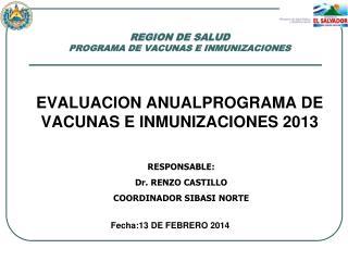 REGION DE SALUD  PROGRAMA DE VACUNAS E INMUNIZACIONES