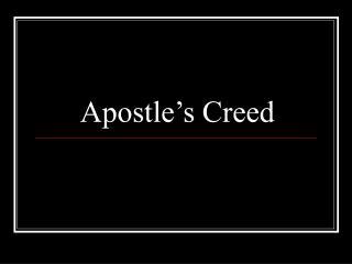 Apostle�s Creed