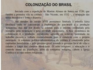 COLONIZAÇÃO DO BRASIL