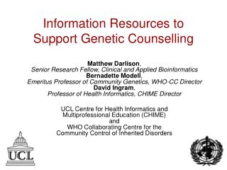 Information Resources to Support Genetic Counselling