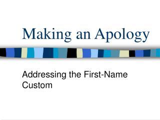 Making an Apology