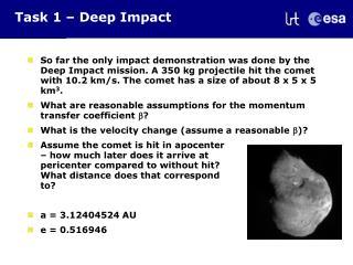 Task 1 – Deep Impact