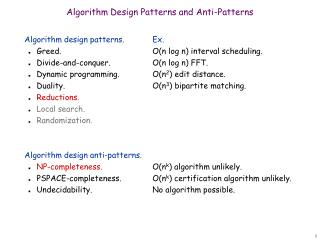 Algorithm Design Patterns and Anti-Patterns
