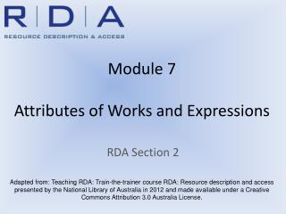 Module 7 Attributes of Works and Expressions
