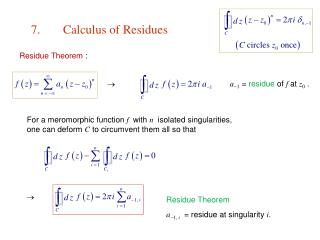 7.	Calculus of Residues