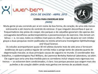 DICA DE SAÚDE – ABRIL 2012