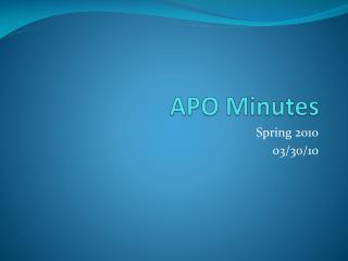 APO Minutes