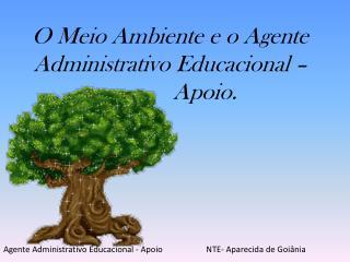 O Meio Ambiente e o Agente Administrativo Educacional –      Apoio.