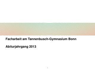 Facharbeit am Tannenbusch-Gymnasium Bonn Abiturjahrgang 2013