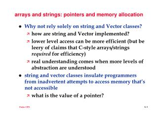 arrays and strings: pointers and memory allocation